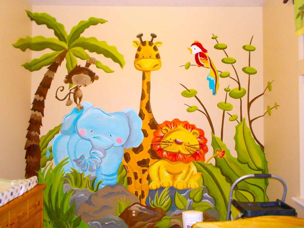 Kids room jungle mural for Mural kids room